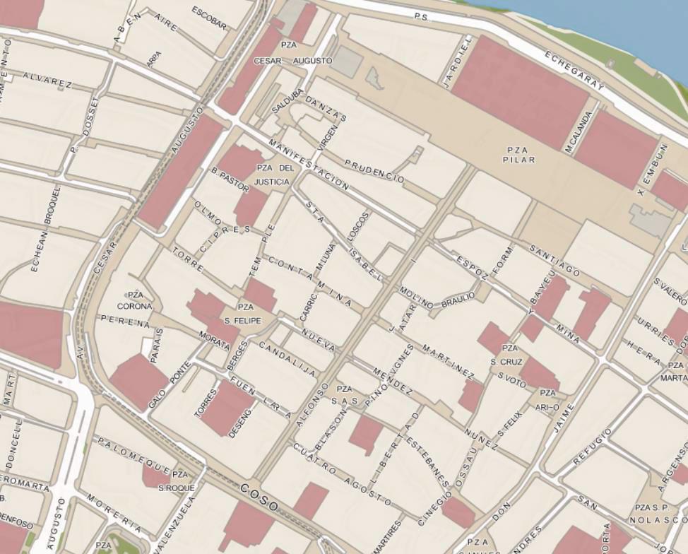 Plano de Zaragoza.