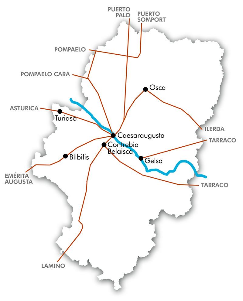 Mapa calzadas romanas en Aragón.